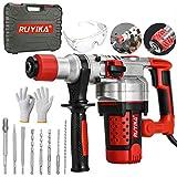 RUYIKA Electric Hammer Drill Breaker Heavy Duty 2000W Rotary Jack Chisel Kit, 3 Switchable Modes, 4 Sized SDS...