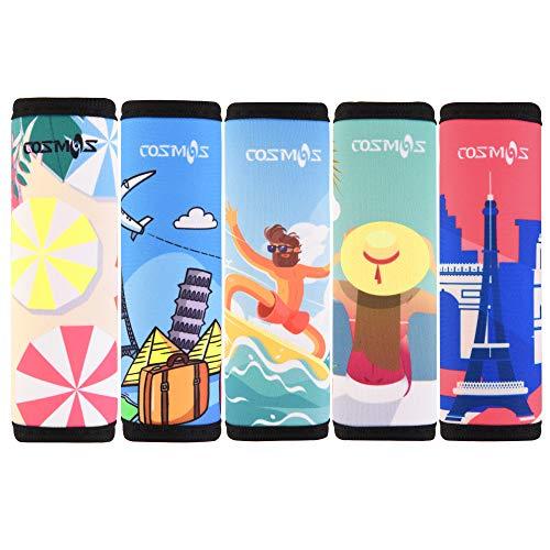 CM Pack of 5 Neoprene Luggage Handle Wrap Handle Grip Luggage Identifier for Travel Bag Luggage Suitcase (Summer Patterns - UMB (5 Pcs))