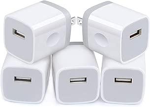 5Pack USB Wall Charger Plug Certified, Charging Bulk, NINIBER 1A/5V Single Port Charging Block Station Head Brick Base Adapter for Phone X 8 6S 6 Plus,5S,SE,4S, Samsung Galaxy J3 J7 S7 S6, LG, Moto
