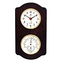 Kensington Row Coastal Collection WEATHER STATIONS -CAPE CORAL CLOCK & THERMOMETER/HYGROMETER ON ASH BASE