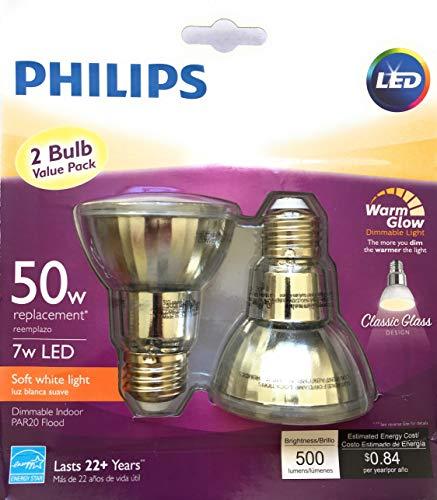 Philips 471243 LED Classic Glass Dimmable PAR20 40-Degree Spot Light Bulb with Warm Glow Effect 500-Lumen, 2200-2700-Kelvin, 7 (50-Watt Equivalent), E26 Base, Soft White, 2 Pack