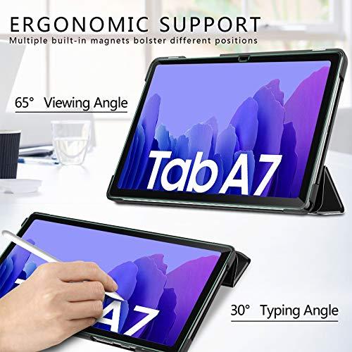IVSO Hülle Kompatibel mit Samsung Galaxy Tab A7,Mit Samsung Tab A7 Panzerglas, Slim Hochwertiges PU Schutzhülle mit Displayfolie Kompatibel mit Samsung Galaxy Tab A7 T505/T500/T507 10.4 Zoll 2020