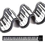 Piano enrollable de 61 teclas,plegable portátil piano,rollo de mano con batería USB integrada y 128 sonidos/ritmo/15 primera canción de demostración de sílice ambiental (negro)