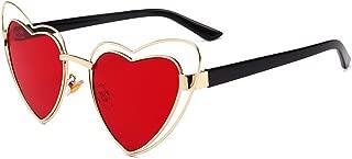 LUKEEXIN Heart Shape Metal Full Frame Sunglasses for Women Men UV Protection for Driving Vacation (Color : Red)