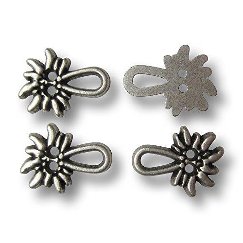 Knopfparadies (k755as) – 8er Set hübsche Miederösen aus Metall mit Trachtenmotiv: Edelweiß, Altsilber (geschwärzt) / ca. 21mm Breite