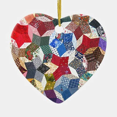 onepicebest Christmas Heart Ornaments Quilt Fabric Ceramic Ornament Xmas Gifts Presents, Holiday Tree Decoration Stocking Stuffer Gift