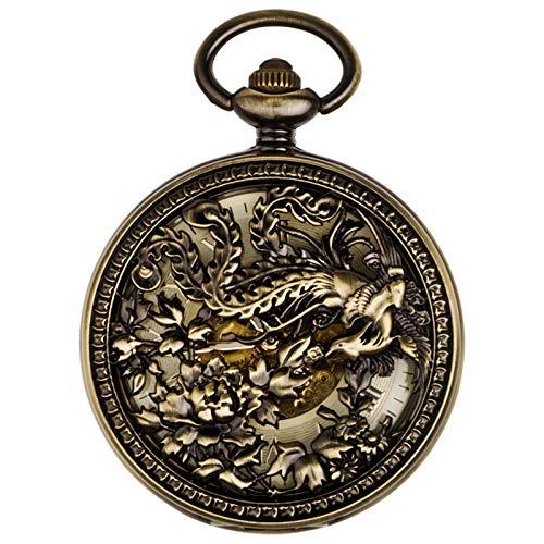 WXMYOZR Reloj De Bolsillo Antiguo Vintage Reloj De Bolsillo para Mujer Reloj Mecánico con Números Romanos con Caja Hueca De Cadena, Lucky Phoenix,Latón
