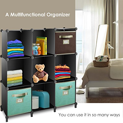 TomCare Cube Storage 9-Cube Closet Organizer Shelves Plastic Storage Cube Organizer DIY Closet Organizer Storage Cabinet Modular Book Shelf Shelving for Bedroom Living Room Office, Black