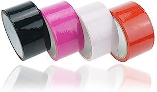SM テープ SM拘束ロープ コスプレSMグッズ ボンデージテー プ 簡単拘束非粘着 静電気テー プ 緊縛美 16M仕様 4色セット(黒、赤、バラ、桃)