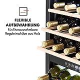 Klarstein Vinamour - Weinkühlschrank, Unterbau/Einbau, EEK A, Touch Control, freistehend, 2 Kühlzonen, Volumen: 80 Liter, 29 Flaschen, Kühltemperatur: 5-22 °C, schwarz - 10