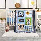Wowelife Nursery Set Sports 7 Piece Blue Baseball Dog and Bear Crib Bedding Sets for Boys