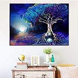 hetingyue Magische Wald Bunte Malerei Baum Landschaft Leinwand Malerei Wandbild Wohnzimmer Wohnzimmer Wandkunst rahmenlose Malerei 40x60cm