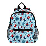 Vorschulrucksack für kleine Kinder, Kleinkinder, Rucksäcke für Jungen und Mädchen, mit Brustgurt, Weihnachtssymbolen, Schneeflocken Weihnachtssymbole Schneeflocken 25.4x10x30 CM/10x4x12 in