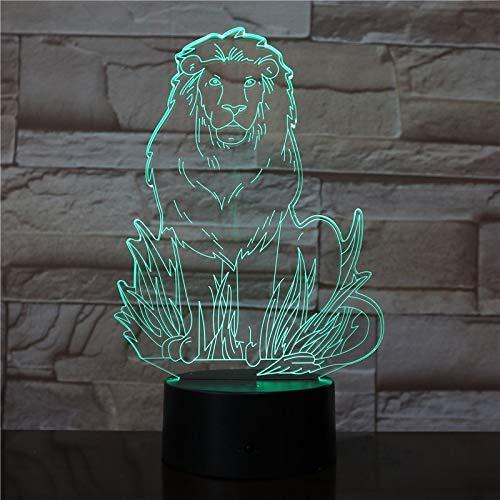 3D Illusion Veilleuse, 3D Led Lion Simba King Modèle Veilleuse Usb 7 Couleurs Noir Base Lampe De Table Décor À La Maison Enfants Garçon Décorations D'Anniversaire