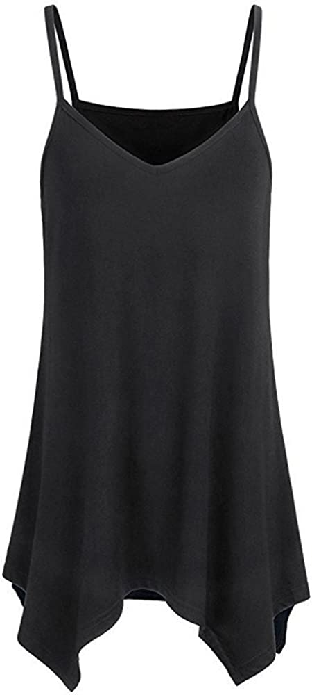 TWGONE Handkerchief Hem Tunic Tops for Women Flowy Casual Summer Spaghetti Strap Camisoles Tank