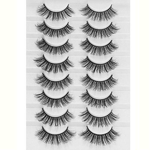 SELLA 8 Pairs 3D Mink False Eyelashes Natural Wispy Fluffy Dramatic Volume Fake Lashes Extension Handmade Cruelty-free Eyelash,A15