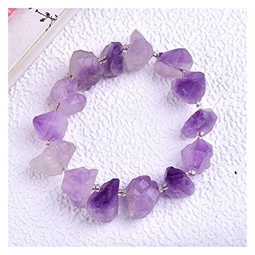YSJJLRV Pierre Brute 1pc Mode Simple Bracelet d'améthyste Naturel de Cristal guérison Quartz séduisant Bracelets pour Femmes Filles Augmente Le Charme (Color : Amethyst Bracelet)