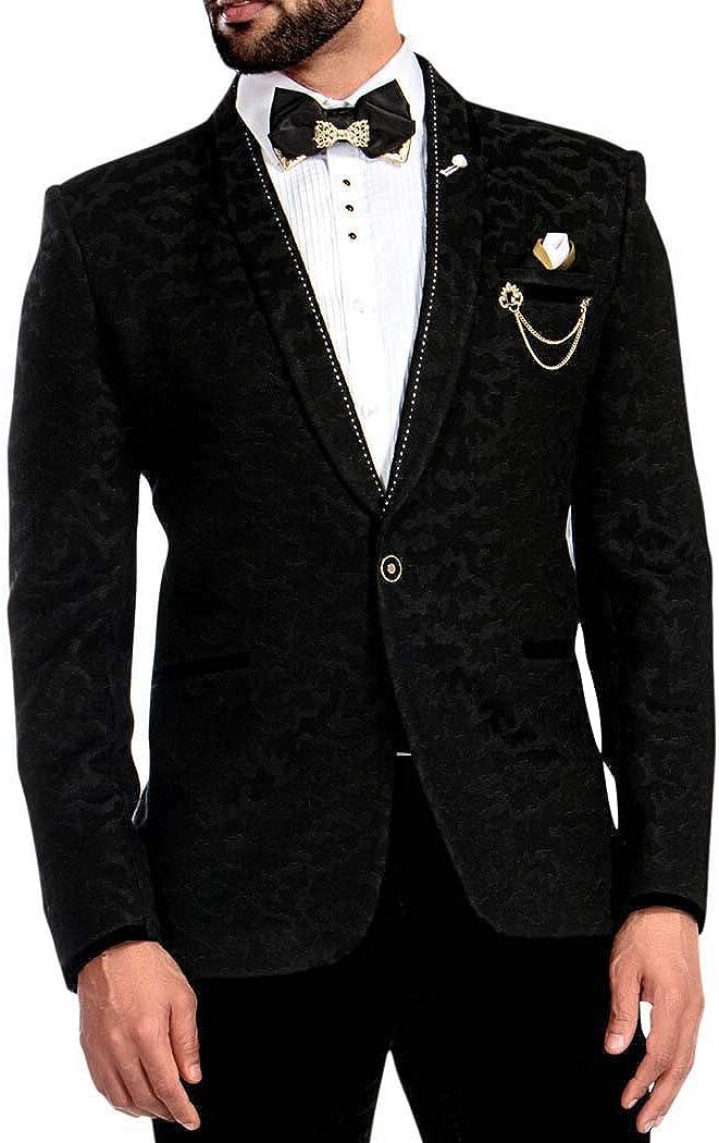 INMONARCH Mens Black Self Design Tuxedo Shawl Collar 6 Pc TX1686