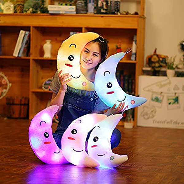 Supper Cute Light Up Smiling Moon Throw Pillow Cushion Plush Stuffed Toys Sparkling Moon Plush Toy With 7 Colors Change LED Lighting Blue 35 X 15cm