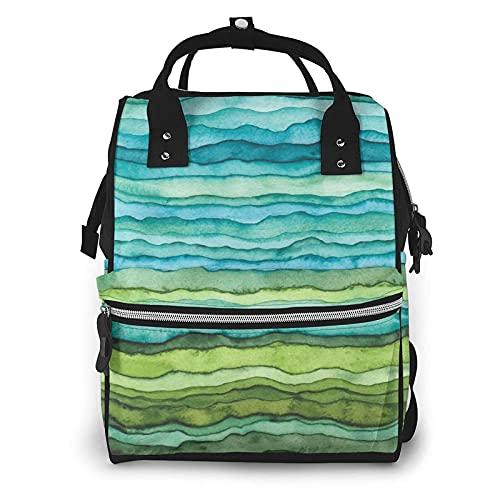 AOOEDM Mochila grande para pañales dibujada con pincel de acuarela con ondas abstractas azules y verdes brillantes, mochila multifuncional impermeable para momias para mamás de maternidad, papás