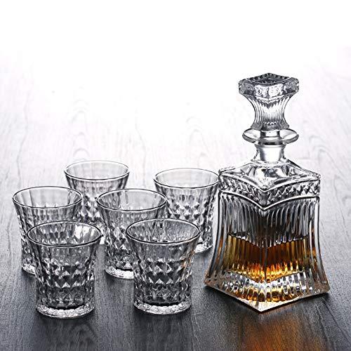 Yiwen Copas de Vino,Taza de Cerveza Camping Copa de Vino Exquisito Juego de Copas de Vino de Cristal en Forma de Diamante con Patrones Grabados en la Superficie Delicado y Duradero