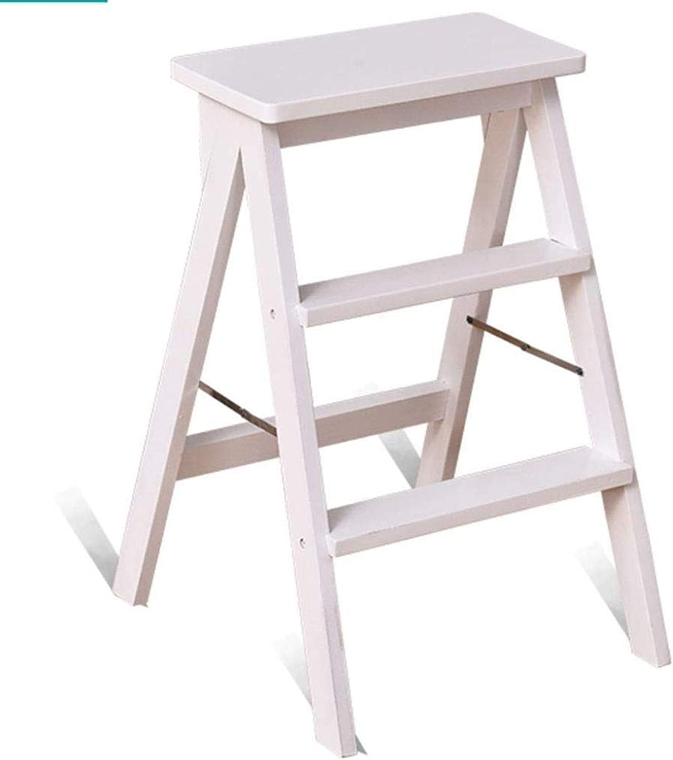 Solid Wood Step Stool Home Kitchen Ascends Stool Folding Wooden Ladder Living Room Stool Portable Folding Chair Ladder Dual-use ZXMDMZ (color   White)