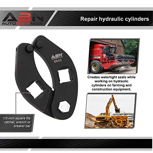ABN Adjustable Gland Nut Wrench - 1/2in Drive Small Universal Hydraulic Cylinder Spanner Wrench, 1 to 3.75in Capacity