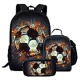 Chaqlin - Bolsa de viaje para niños, diseño de fútbol americano, Poliéster, Fútbol (3 piezas/juego)., Talla única