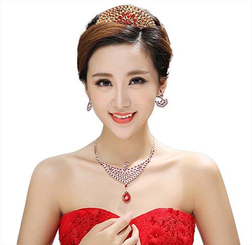 lumanuby tres piezas con cristales Collar Corona Pendientes novia tocado de las mujeres niñas joyas accesorios 3pcs 2017Nuevo estilo de regalo de Navidad del día de San Valentín, cumpleaños, bodas