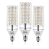 E12 LED Bulbs, 12W LED Candelabra Bulb 100 Watt Equivalent, 1200lm, Decorative Candelabra Base E12 Corn Non-Dimmable LED Chandelier Bulbs, Warm White 3000K LED Lamp, Pack of 3