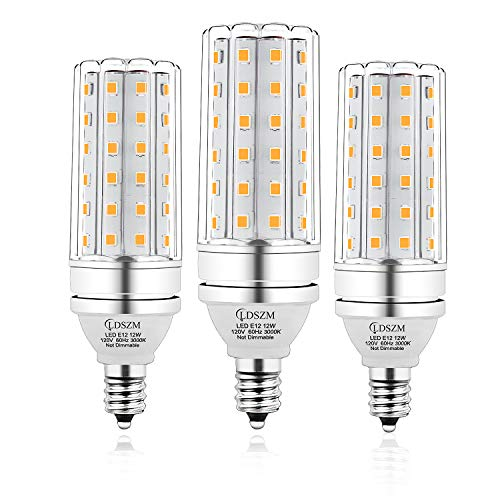 E12 LED Bulbs, 12W LED Candelabra Bulb 100 Watt Equivalent, 1200lm, Decorative Candelabra Base E12 Corn Non-Dimmable LED Chandelier Bulbs, Warm White 3000K LED Lamp, Pack of 3