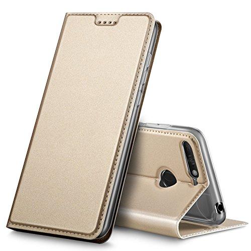 GeeMai DOOGEE X6S Hülle, Premium DOOGEE X6S Leder Hülle Flip Case Tasche Cover Hüllen mit Magnetverschluss [Standfunktion] Schutzhülle handyhüllen für DOOGEE X6S Smartphone, Gold
