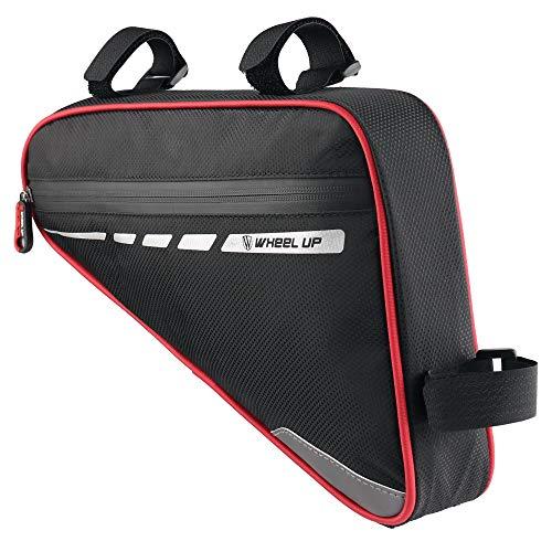 DOLASTO Bike Frame Bag, Waterproof Triangle Bike Bag with Reflective Strip, Bicycle Triangle Bag Front Tube Waterproof Cycling Frame Phone Handlebar Bag for Mountain Bike (Red)
