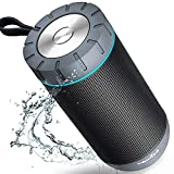 COMISO Waterproof Bluetooth Speakers Outdoor Wireless Portable Speaker with 20 Hours Playtime Superior Sound for Camping, Beach, Sports, Pool Party, Shower (Dark Grey) (Renewed)