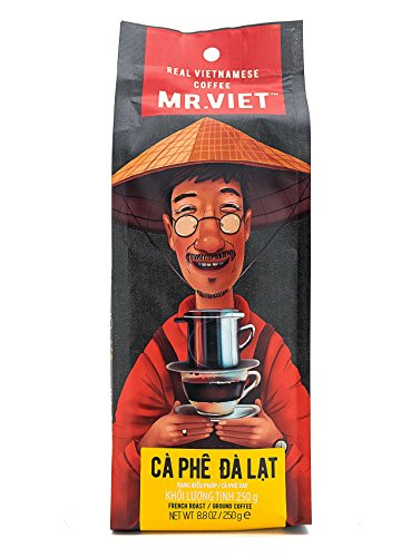 Mr Viet Ca Phe Dalat | Fresh and Promptly Delivered from Vietnam - Ground Coffee Roasted Authentic Vietnamese Blend, Suitable for All Coffee Machines 250g