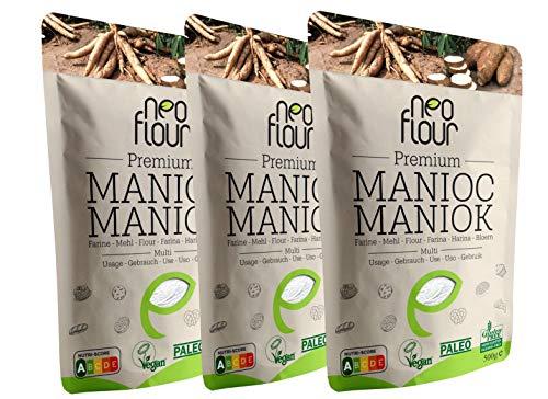 1.5 Kg Farine de Manioc Premium / Spéciale pour Patisserie et Cuisine / Sans Gluten / 100% Naturelle / Sans Conservateurs / Sans Additifs / VEGAN / PALEO / Nutri-Score A