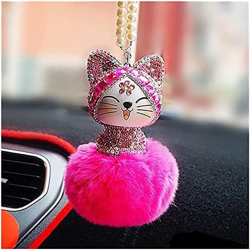 VIVOCC unisex Lovely Cat Car Decoration Fur Ball quality assurance Rhinestone Rea Pendant