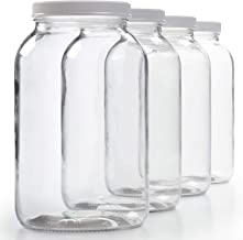4 Pack - 1 Gallon Glass Jar w/ Plastic Airtight Lid, Muslin Cloth, Rubber Band - Wide Mouth Easy Clean - BPA Free & Dishwa...