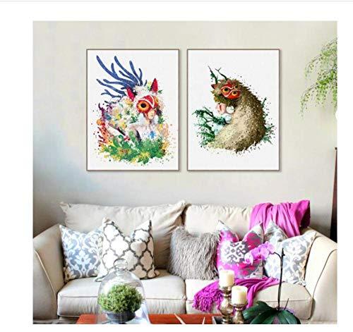 zhaoyangeng Aquarell Animation Prinzessin Mononoke Maske Leinwand Poster Wandkunst Kinder Schlafzimmer Wohnkultur-50X70Cmx2 Stücke Kein Rahmen