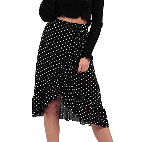 VJGOAL Moda Casual para Mujer Ola Punto Volantes con Volantes Volantes Falda a Media Pierna(Medium,Negro)