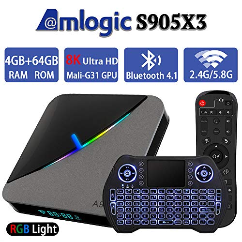 Android TV Box 9.0 4GB 64GB Smart TV Box Amlogic S905X3 with Backlit Wireless Mini Keyboard USB 3.0 Ultra HD 4K 8K HDR Dual Band WiFi 2.4GHz 5.8GHz BT 4.1 RGB Lights Set Top Box Streaming Media Player