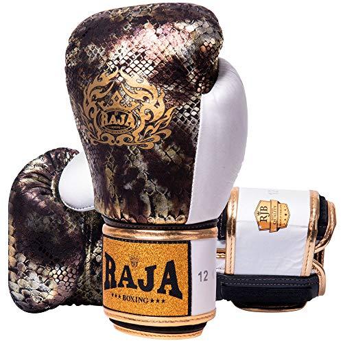 RAJA Boxhandschuhe, Deluxe Snake, Leder, Gold Größe 14 Oz