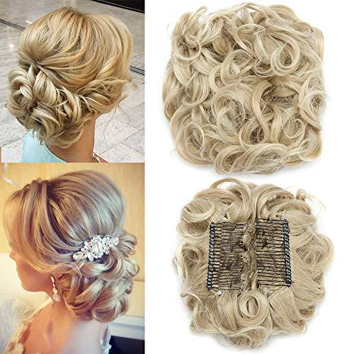 TESS Haargummi Haarteil Dutt Synthetik Haare für Haarknoten Zopf Gummiband Hochsteckfrisuren Haarband Blond Ombre