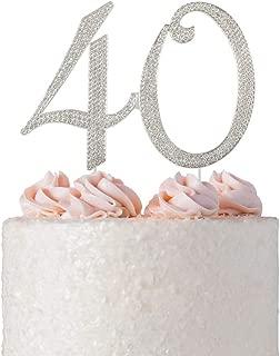 40 Rhinestone Birthday Cake Topper | Premium Crystal Bling Diamond Rhinestone Gem | Monogram Number Forty | 40th Birthday or Anniversary Party Decoration Ideas | Perfect Keepsake (40 Silver)