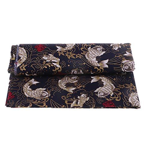 Hellery 100% Algodón Carpa Tela Kimono Yukata Material De Confección Estilo Japonés - 1 Metro