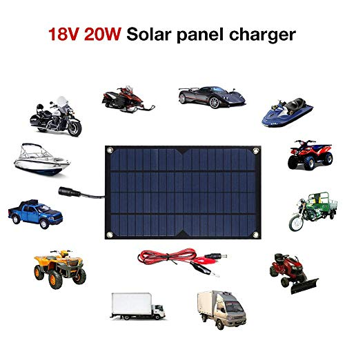 Jinclonder 20 W zonnepaneel, waterdicht eenkristallen laadstation, alternatief laadstation voor auto's, vrachtwagens, caravans, boten, motorfietsen, camperaccu's of 12 V loodaccu's