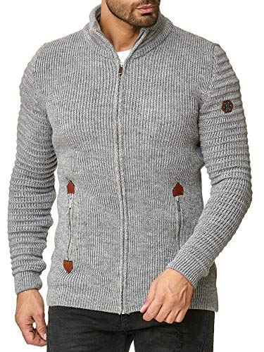 Red Bridge Herren Strickjacke Cardigan mit Stehkragen Basic Luxury Grau XL