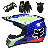Casco MTB de Integrales, MJH-01 Set de Casco de Motocross para Niños Jóvenes Adultos con Gafas Guantes Máscara, para Downhill MX AVT Dirt Moto Bike - Homologado DOT - con Diseño Fox - Azul Brillante