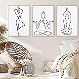 RuiChuangKeJi Cuadros de Pared 3 Piezas 50x70cm Sin Marco Interior Sala de Estar Líneas abstractas Simples Cuerpo Humano Impresión de Cartel Yoga Pose Pintura Mural Imagen Decoración del hogar