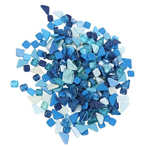 Artibetter Piezas de Mosaico de Brillo Azulejos de Mosaico Chips Caídos Piedras de Cristal Trituradas para Manualidades de Bricolaje (500G Azul)